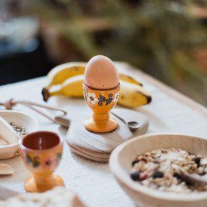 Duo de coquetiers en ceramique jaunes Tereza