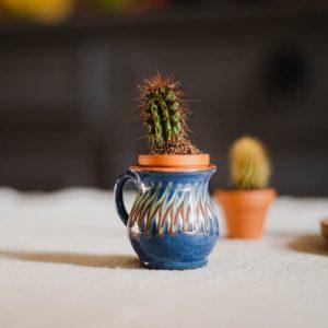 Duo de mini-vases Horezu bleu foncé