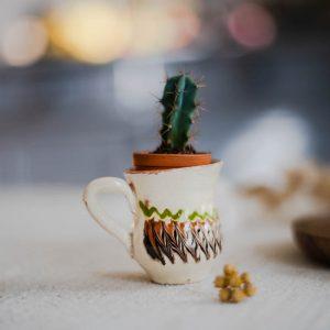 Duo mini-vases Horezu blancs et verts