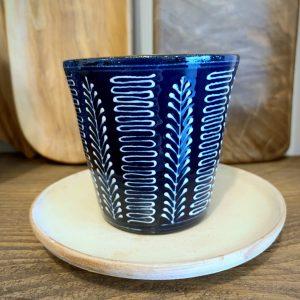 tasse à café bleue motif épi